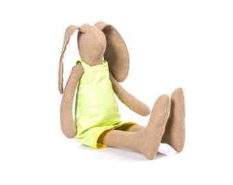 plush rabbit doll , Cuddling doll  , stuffed bunny doll , art doll bunny, rabbit stuffed animal Doll, soft toy , handmade eco doll girl gift