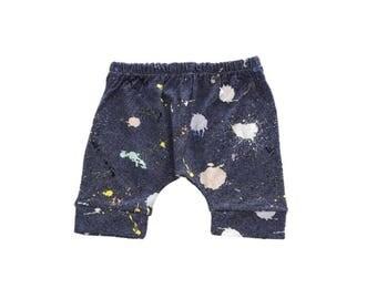 Harem Shorts, Paint Splatter Shorts, Ink Splat, Blue Shorts, Gender Neutral Baby Clothing