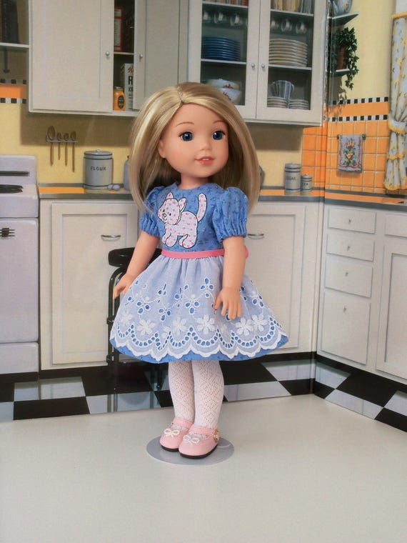 """CLEARANCE SALE!  / 14"""" Size/  Embroidered  Dress and Shoes Fits American Girl ®14"""" Wellie Wishers®"""