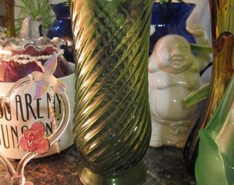Vintage E O Brody Co Green Swirl Vase Made in Cleveland USA
