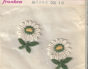 Vintage Franken Sew On White Daisy Embroidered Appliques (2 in pkg), 1960s