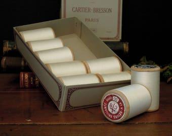 Vintage Antique Box Of Cartier-Bresson Paris Cotton Thread 9 Bobines Wood Spools / Bobbins with Spun White Cotton Thread