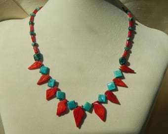 Red coral necklace,red coral and turquoise necklace,red coral leaf necklace,red coral and turquoise leaf necklace,red coral statement neckla