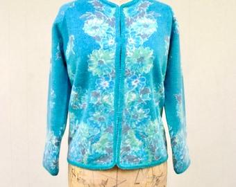 Vintage 1960s Sweater / 60s Diana Turquoise Floral Lambswool Angora Cardigan / Medium