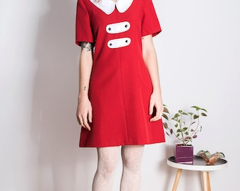 Mod Peter Pan dress scooter red a line 60s