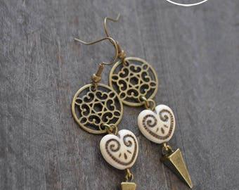 Boucles d'oreilles pendantes - Capteur de rêves - Coeur de bohème - Coco Matcha