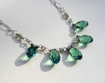 Delicate Blue Green Swarovski Crystal Teardrop Necklace Green Crystal Briolette Fringe Necklace Sterling Silver or 14k Gold Fill