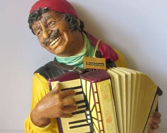 1970 Bossons Chalkware Gypsy Man and Accordion - With Original Gold Hang Tag