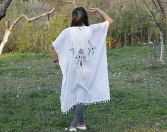 Embroidered kaftan maxi dress, Caftan dress, Beach kaftan, Swimsuit coverup, Plus size kaftan, Beach cover up dress, Dream catcher dress
