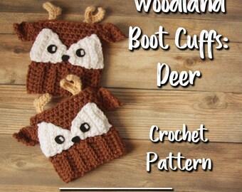 Woodland Animals Deer Boot Cuffs / Boot Cuff Pattern / Crochet Boot Cuffs / Boot Cuff Socks / Crochet Pattern