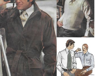 Vogue Americana 2917 Bill Blass Men's Jacket, Sweater, Shirt and Necktie Sewing Pattern Size 44, Chest 44. Neckband 16 /12