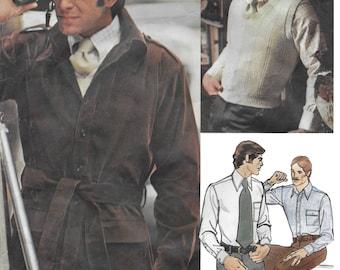 Vogue Americana 2917 Bill Blass Men's Jacket, Sweater, Shirt and Necktie Sewing Pattern Size 44, Chest 44. Neckband 16 /12