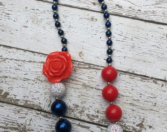 Girls Beaded Chunky Necklace, Girls Bubblegum Chunky Necklace, Red White and Blue Chunky Necklace, Patriotic Necklace, 4th of July Necklace