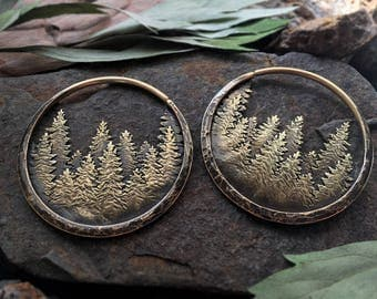 Pine Forest Brass Hoop Earrings Ritual Remains Mountain Earrings 10g Earrings 10 Gauge Ear Weights Plugs Mountain Ring Witchy Jewelry Nature