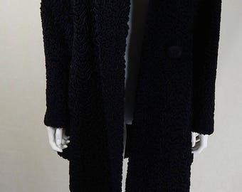 Original 1940s Vintage Black Astrakhan Coat Size 12/14/16