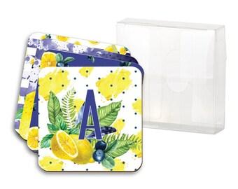 Set of 4 Coasters - Blueberry Lemonade