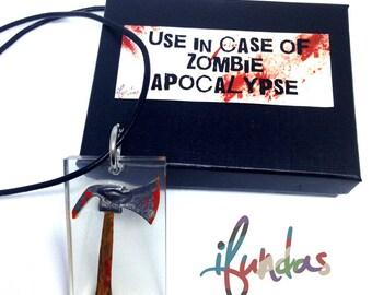 Axe Pendant Necklace, Zombie, Resin Jewelry, Zombie Apocalypse, zombie jewelry, zombie necklace, halloween, Undead, Walking Dead, weapon