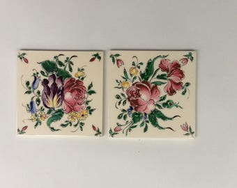 A Paris Antique French Tiles- Desevres Porcelain - French Country Style - Coasters - Bathroom Tile