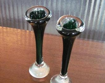 Vintage 60's Forest Green Aseda Style Bone Vases - pair - Blown Glass Vases - Tulip Vases - Jack in the Pulpit - Dog Bone Vase - Swedish