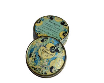 Vintage Powder Tin Vernafleur 1930's Face Powder Enamel Tin Litho Tin Art Deco,