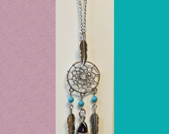 Dream Catcher Car Charm ONE, Car Jewelry, Your Choice of Stone, Velvet Bag Included