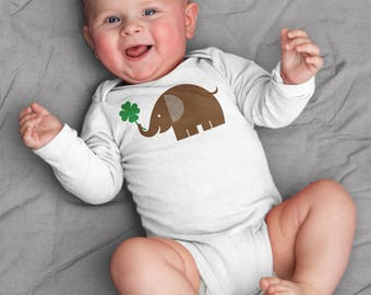 St. Patricks baby clothes, elephant and four leaf clover, elephant baby bodysuit for baby boy or baby girl