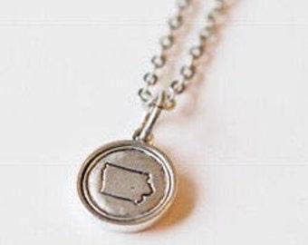 Iowa, Stamped Iowa Necklace, Iowa Jewelry, State Jewelry, Iowa Charm, IA