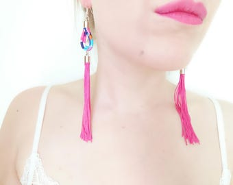 Tassel Earrings Pink - Long Tassel Earrings - Tana Lawn Jewelry - Elegant Tassel Jewelry - Colourful Statement Earring- Gift for Girlfriend