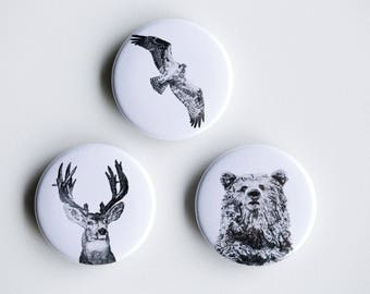 "Osprey, Deer Bear Pins - Forest Friends Pin-Back Buttons - Set of 3 Pin-Back Buttons - 1.5"" - Woodland pin Animal pin Pingame Badges"