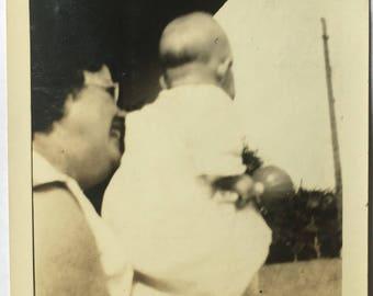 "Vintage Photo ""The First Grandchild"" Snapshot Antique Black & White Photograph Found Paper Ephemera Vernacular Interior Design Mood - 43"
