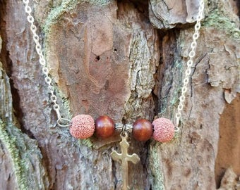 Brown Wood and Cross Essential Oil Diffuser Necklace
