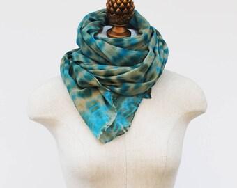 shibori pattern olive and blue green silk chiffon scarf by 88editions