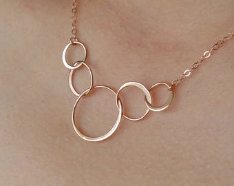 Gifts for Her ROSE GOLD Five Circle Necklace 50th Birthday Gifts for Women Necklace New Mother Gift Best Friend of 5 Five Bridesmaids Gift