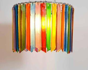 Rainbow Rhapsody – Small Single Chandelier - Glass Chandelier - Colourful Chandelier - Glass Lighting - Pendant Light - Fixture - Decor