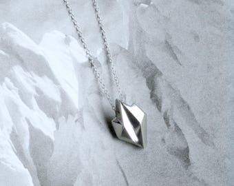 """Iceberg Pendant (larger, iconic) - """"Ode to Ice"""" - Sterling Silver - Climate Change, Environmental Jewelry"""