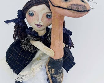 OLLIE OSTRICH /Primitive Dolls Finished Item / Award Winning / Cloth Dolls / Collectible Doll / / Primitive Art / Primitive Decor/ Art Dolls