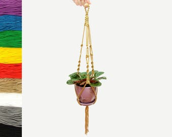 "Hanging Planter / Macrame Plant Hanger / Gardening Gift / Bohemian Style / Indoor Outdoor Garden Decor / Housewarming Present / 24"" 60cm"