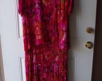 Vintage Dress - Designer Draper's & Damon's, Size Petite Large, Beaded Jacket, Reversible Dress, Cruise, Special Occasion:  CA-101
