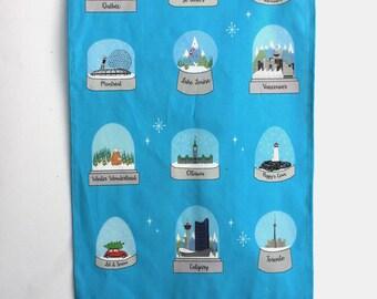 Canadian Snow globe Tea Towel: Winter Dish towel