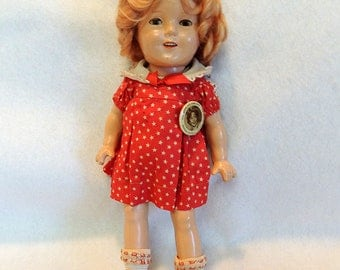 """Vintage 1930s SHIRLEY TEMPLE Doll 13"""" W Original NRA Tag, Dress & Pin Ideal Composition"""
