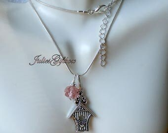 """Bird House Necklace Pink Crystal 19"""" 2""""Ext. SP Snake Chain-Ready to Ship Free US Domestic"""