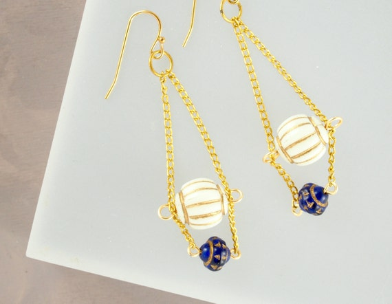 Vintage Blue Chandelier Earrings