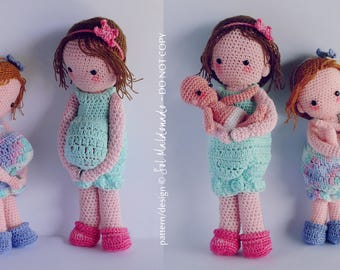 Amigurumi Crochet Pattern PDF - Pregnant Mother Girl Doll & baby Crochet Pattern - nursery gift baby girl amigurumi mummy - Instant DOWNLOAD