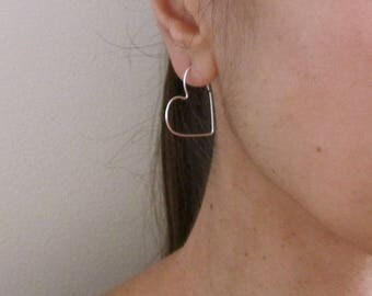 Yellow or Rose gold filled or sterling silver wire endless HEART hoop earrings, love earrings
