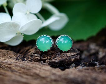 Chrysoprase stud earrings, green gemstone 6mm studs, sterling silver post earrings