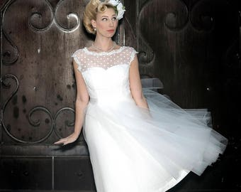 Plus size polka dot wedding dress