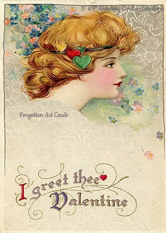 "Valentine's Day Card I Greet Thee Valentine Artist Samuel Schmucher 5""x7"" Greeting Card Forgotten Art Card Pretty Girl Postcards Ships Free"