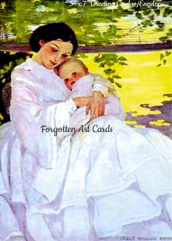 """Mother and Child,  5""""x7"""" Greeting Card w/Envelope, Jessie Willcox Smith, Forgotten Art Cards, Pretty Girl Postcards"""