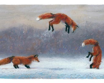 RED FOX Winter Cards by illustrator Kate Garchinsky - 10 Pack