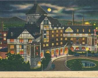 1930s Virginia Postcard Roanoke At Night